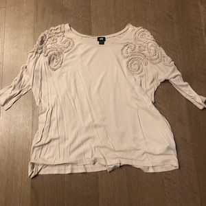 H&M Textured Over-Sized Blouse, Small, Beige